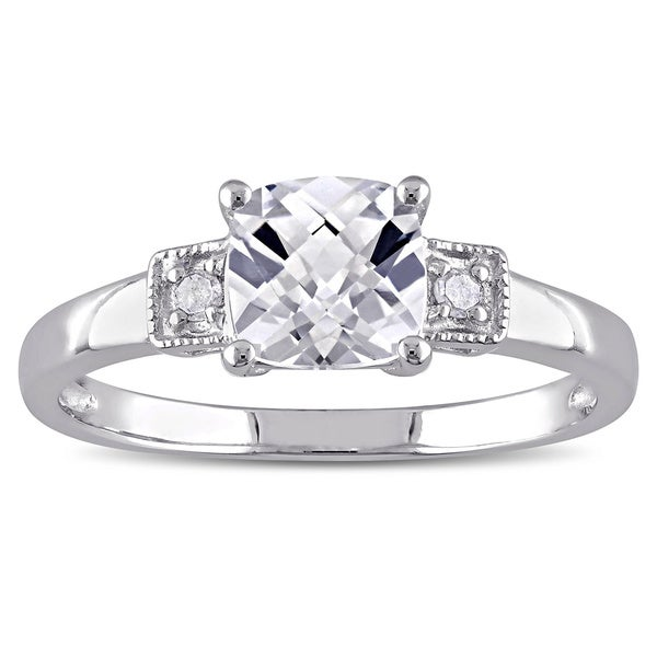 M by Miadora Sterling Silver Cushion-cut Created White Sapphire and Diamond Ring