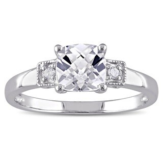 Miadora Sterling Silver Cushion-cut Created White Sapphire and Diamond Ring