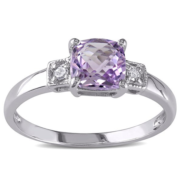 M by Miadora Sterling Silver Amethyst and Diamond Accent Ring