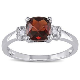 M by Miadora Sterling Silver Garnet and Diamond Fashion Ring
