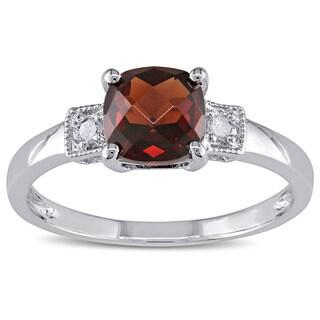 Miadora Sterling Silver Garnet and Diamond Fashion Ring