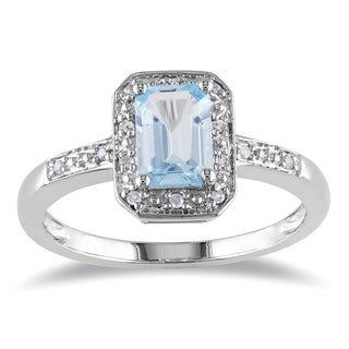 Link to Miadora Sterling Silver Aquamarine and Diamond Accent Ring Similar Items in Rings