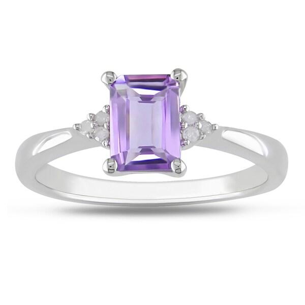 Miadora Sterling Silver Amethyst and Diamond Fashion Ring