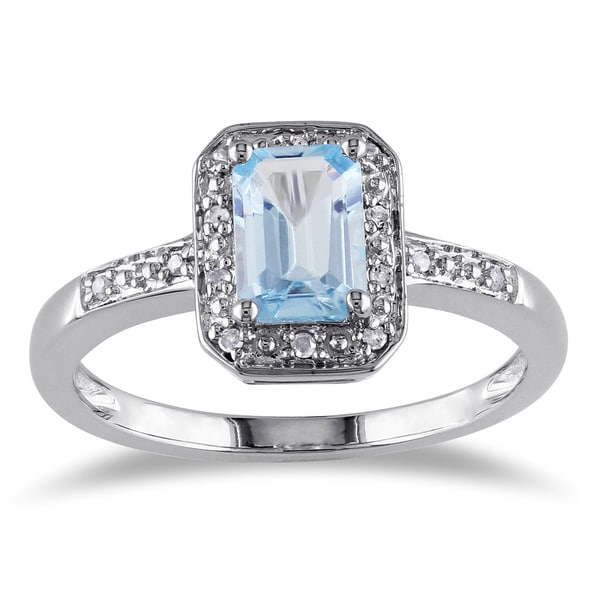 Miadora Sterling Silver Blue Emerald-cut Topaz and Diamond Accent Ring