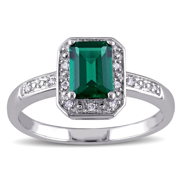 Miadora Sterling Silver Created Emerald and Diamond Ring