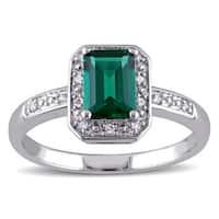 Miadora Sterling Silver Created Emerald and Diamond Ring