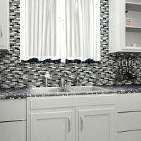 SomerTile 11.75x11.75-inch Reflections Subway Tuxedo Glass and Stone Mosaic Wall Tile (10 tiles/9.6 sqft.)