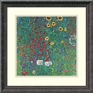 Framed Art Print 'Farm Garden with Sunflowers, c. 1906' by Gustav Klimt 19 x 19-inch