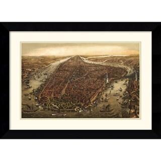 Framed Art Print 'New York, 1873' by Ward Maps 28 x 21-inch