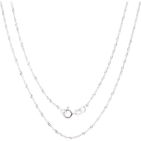 14k White Gold Singapore Chain Necklace (16-30 inch)