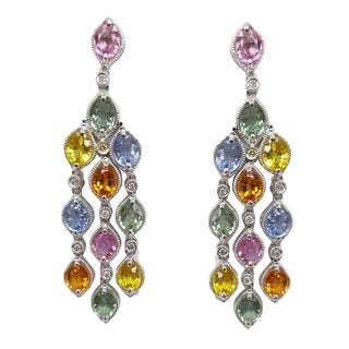 18k Gold Multi-colored Sapphire and 1/8ct TDW Diamond Earrings (I-J, I2-I3)