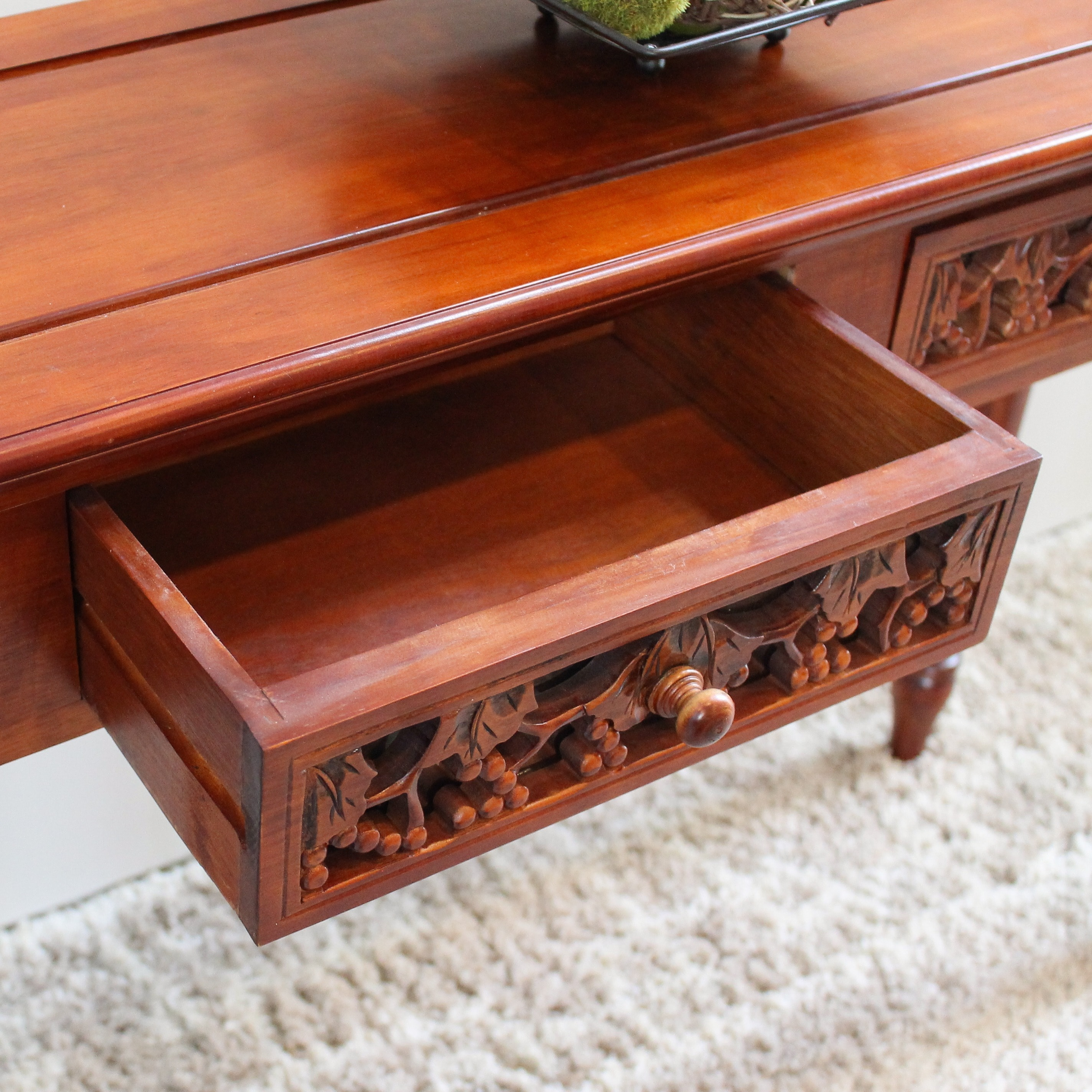 International Caravan Windsor Hand carved Wood 2 drawer Table