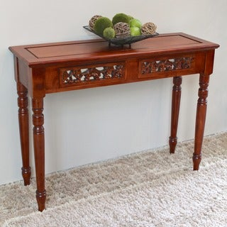 International Caravan Windsor Hand-carved Wood 2-drawer Table