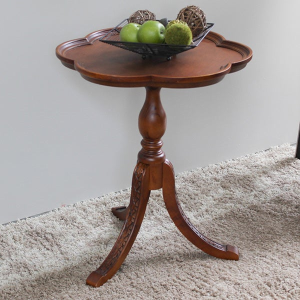 International Caravan Shangri-La Hand-carved Wood Scalloped Round Table