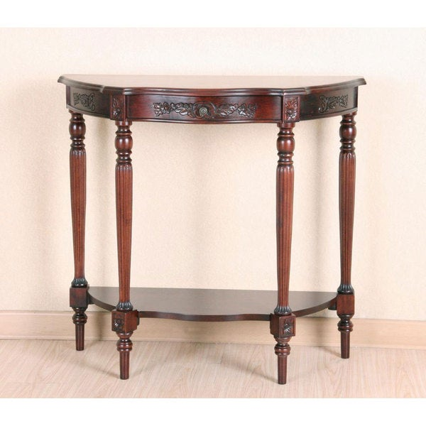 International Caravan Shangri-La Zen Hand-Carved Wood Half Moon Table