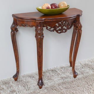 International Caravan Windsor Carved Half-Moon Console Table