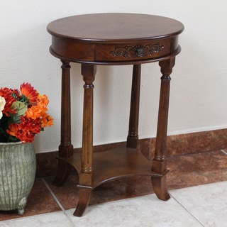 International Caravan Shangri-La Hand-carved Wood Oval Table