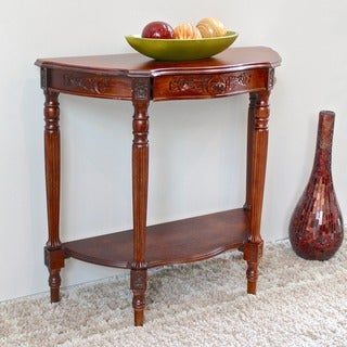 International Caravan Shangri-La Mozi Hand-carved Wood Half-Moon Table