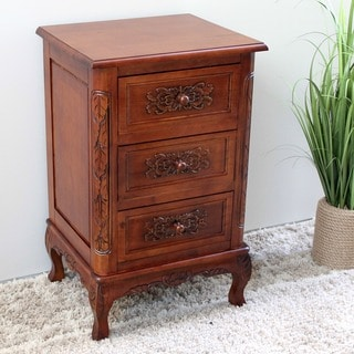 International Caravan Shangri-La Hand-carved Wood End Table