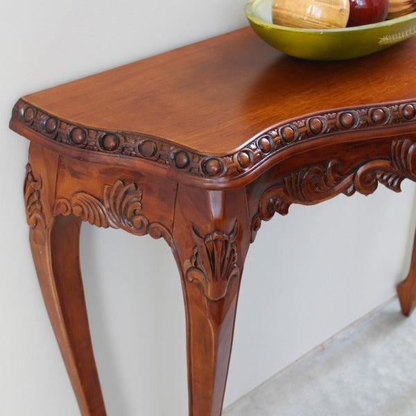 International Caravan Windsor Hand Carved Wood Console Table   Free  Shipping Today   Overstock.com   13353779