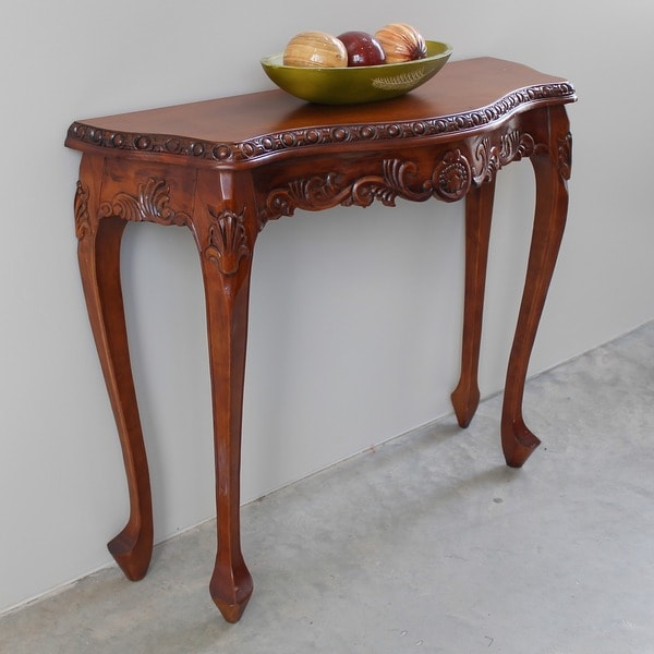 International Caravan Windsor Hand-carved Wood Console Table