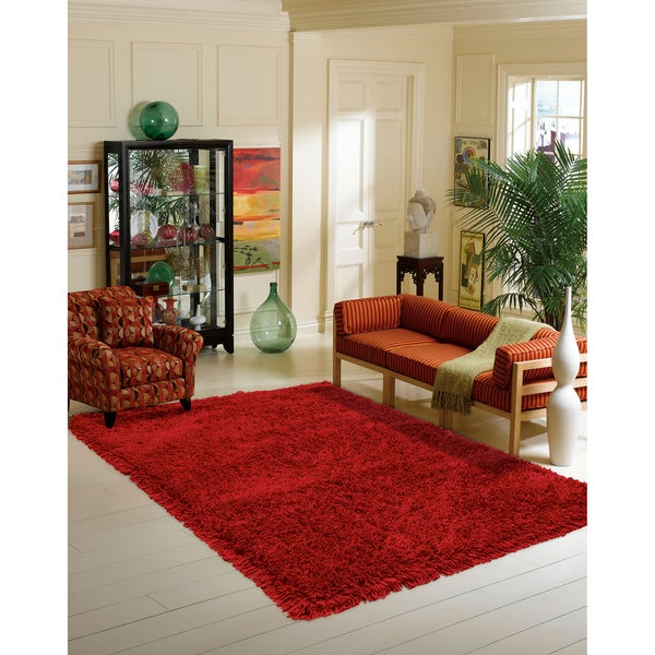 Nourison Coral Reef Red Shag Area Rug - 3'6 x 5'6