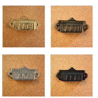 Solid Brass Vintage Ashby Bin Pull (Set of 4)