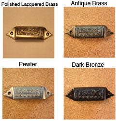 Solid Brass Vintage Pembroke Design Bin Pulls (Set of 4)
