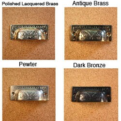 Solid Brass Vintage Fairfax Design Bin Pulls (Set of 4)
