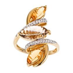 D'Yach 14k Gold Smokey Quartz, Citrine and 1/5ct TDW Diamond Ring (I-J, I1-I2)