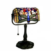 Indoor 1-light Dragonfly Bronze Banker Desk Lamp