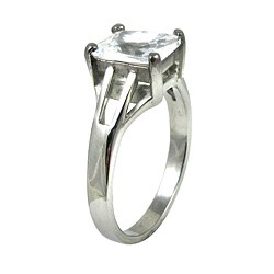 Stainless Steel Cubic Zirconia Solitaire Engagement-style Ring - Thumbnail 1