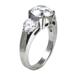 Stainless Steel Round and Heart Cubic Zirconia Engagement-style Ring - Thumbnail 1