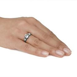 Stainless Steel Round and Heart Cubic Zirconia Engagement-style Ring - Thumbnail 2