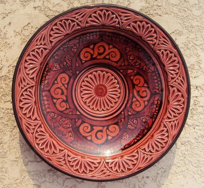 Handmade Ceramic Engraved Chili Plate (Morocco)