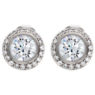 NEXTE Jewelry Silvertone Clear Cubic Zirconia Ultra Small Radius Stud Earrings