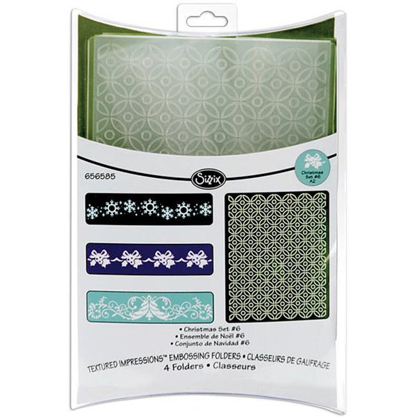 Sizzix Textured Impressions 'Christmas #6' Embossing Folders (Pack of 2)
