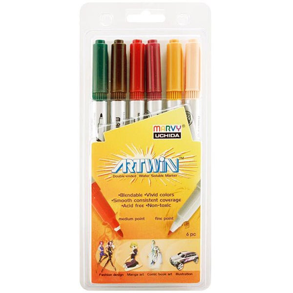 Artwin Double Ended Fine/ Medium Point Markers (Set of 6)