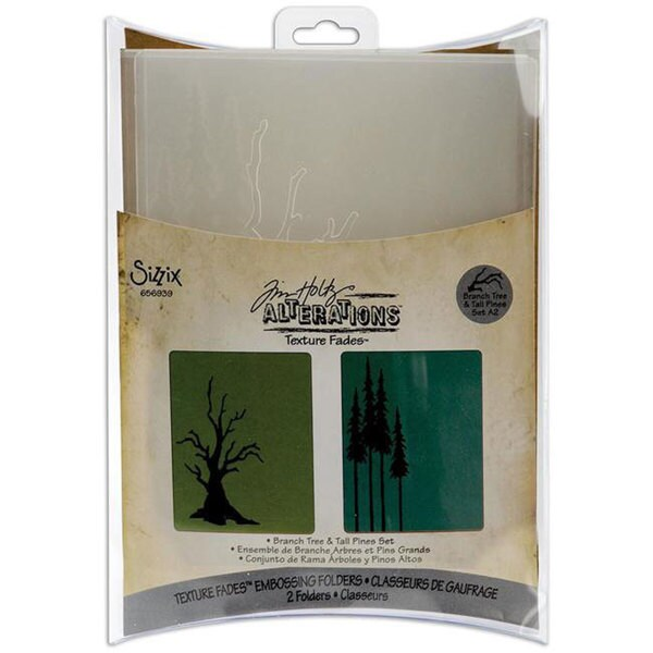Sizzix Texture Fades 'Branch, Tree & Tall Pines' Embossing Folders (Pack of 2)