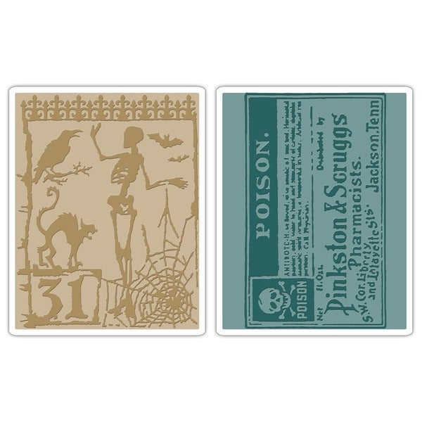 Sizzix Texture Fades 'Halloween Night/ Poison' Embossing Folders (Pack of 2)