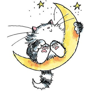Penny Black Cat On The Moon Rubber Stamp