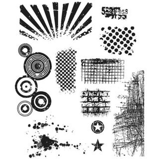 'Bitty Grunge' Six-piece Three-hole-punched Rubber Stamp Set