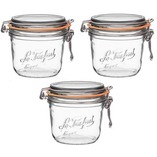 Le Parfait French Wide Mouth 17.8 oz. 500 g Glass Canning Jar with 100mm Gasket and Lid (Pack of 3)