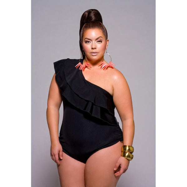 4df03b48e87a0 Shop Monif C. Women s Plus Size One-shoulder Ruffle One-piece Swimsuit -  Free Shipping Today - Overstock - 5593805
