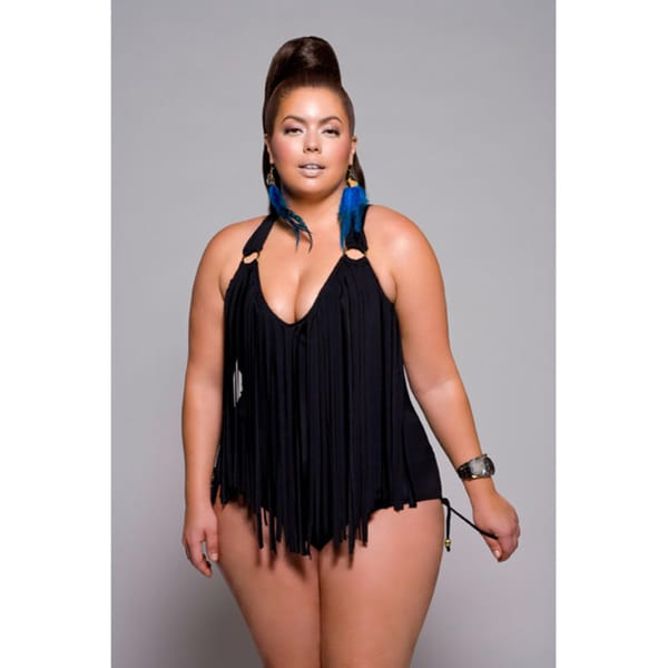 2e5abfbd087f3 Shop Monif C. Women s Plus Size Halter Fringe One-piece Swimsuit ...
