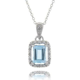Dolce Giavonna Sterling Silver Blue Topaz and Diamond Accent Necklace with Gift Box