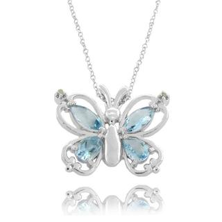 Dolce Giavonna Sterling Silver Blue Topaz and Diamond Accent Butterfly Necklace