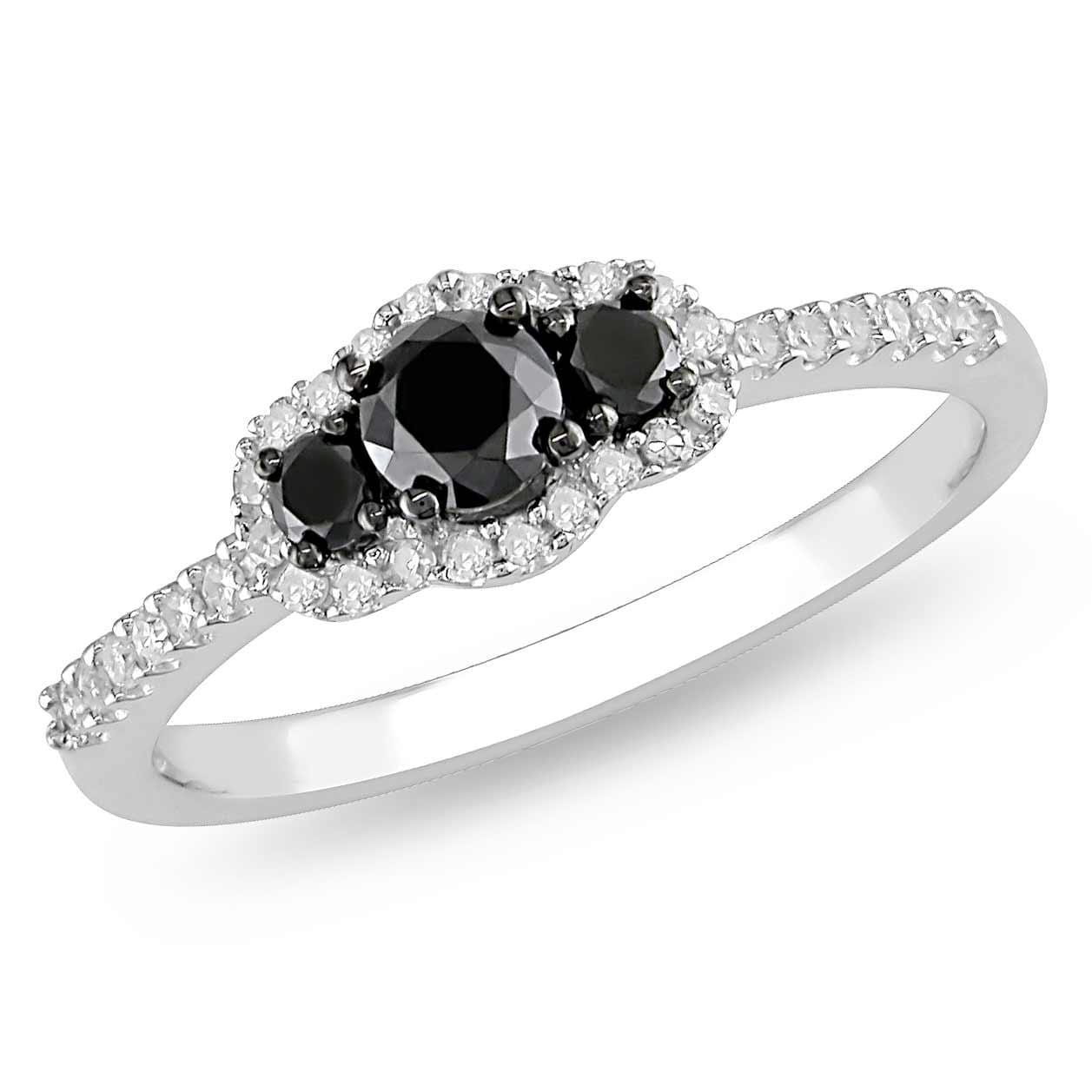 Miadora 10k White Gold 1/2ct TDW Black and White Diamond Halo Ring (G-H, I2-I3)