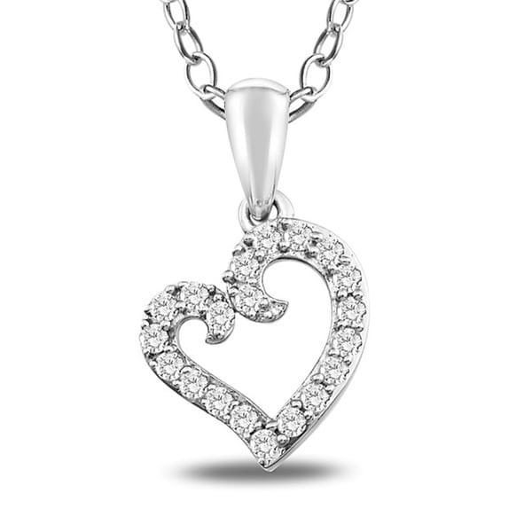 Miadora Sterling Silver 1/5ct TDW Diamond Heart Necklace