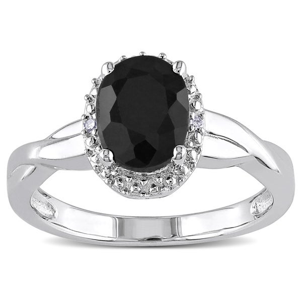 Miadora Sterling Silver Black Sapphire and Diamond Accent Ring